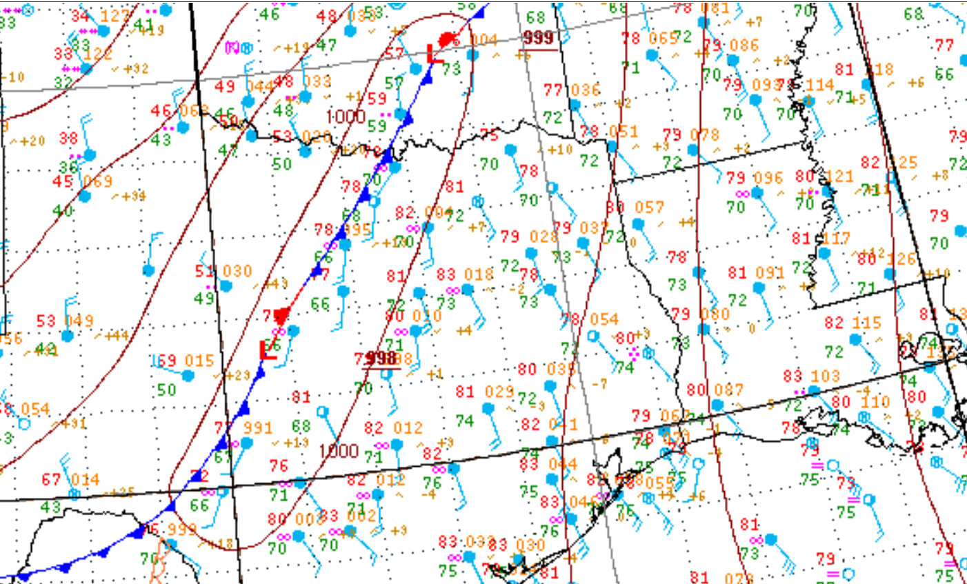 1000 CDT Regional Surface Analysis