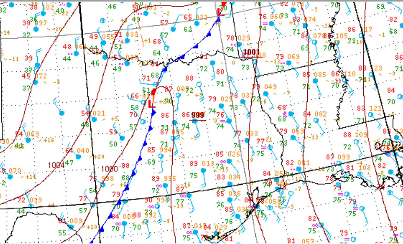 1300 CDT Regional Surface Analysis
