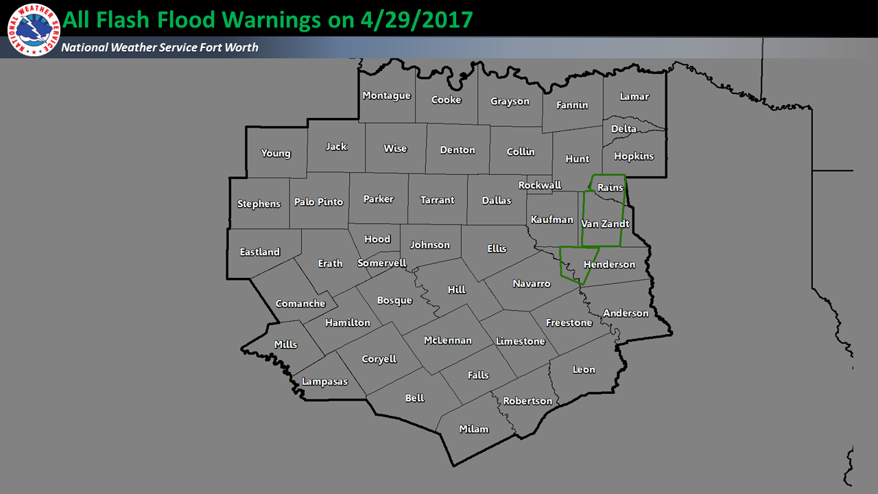 All Flash Flood Warning polygons issued by NWS Fort Worth on 04/29/2017