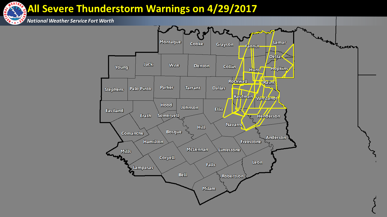 All Severe T'Storm Warning polygons issued by NWS Fort Worth on 04/29/2017