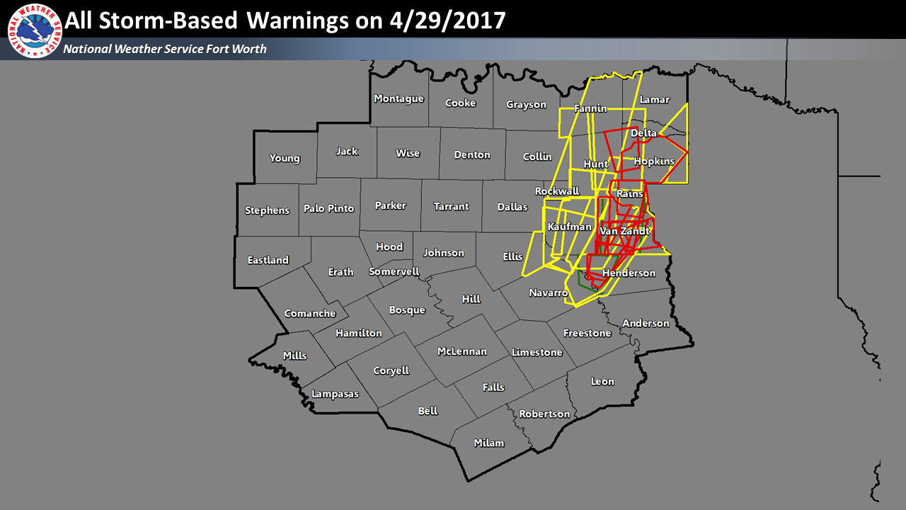 All Storm Based Warning polygons issued by NWS Fort Worth on 04/29/2017