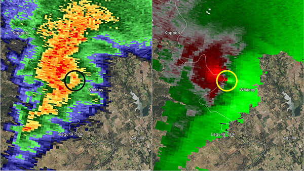Reflectivity image on the left and storm relative image on the right. Image at 6:48 pm CST.