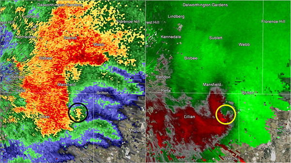 Reflectivity image on the left and storm relative image on the right. Image at 8:11 pm CST.