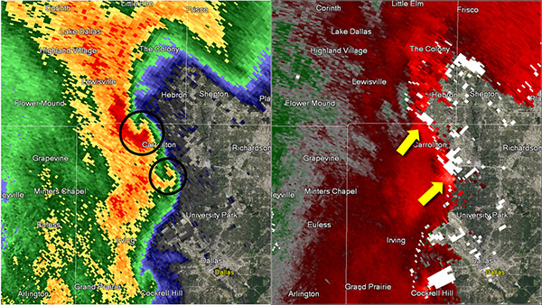 Reflectivity image on the left and storm relative image on the right. Image at 9:20 pm CST.