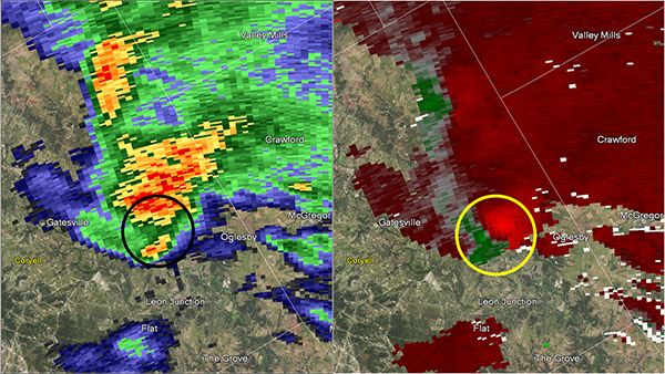 Reflectivity image on the left and storm relative image on the right. Image at 5:41 pm CST.