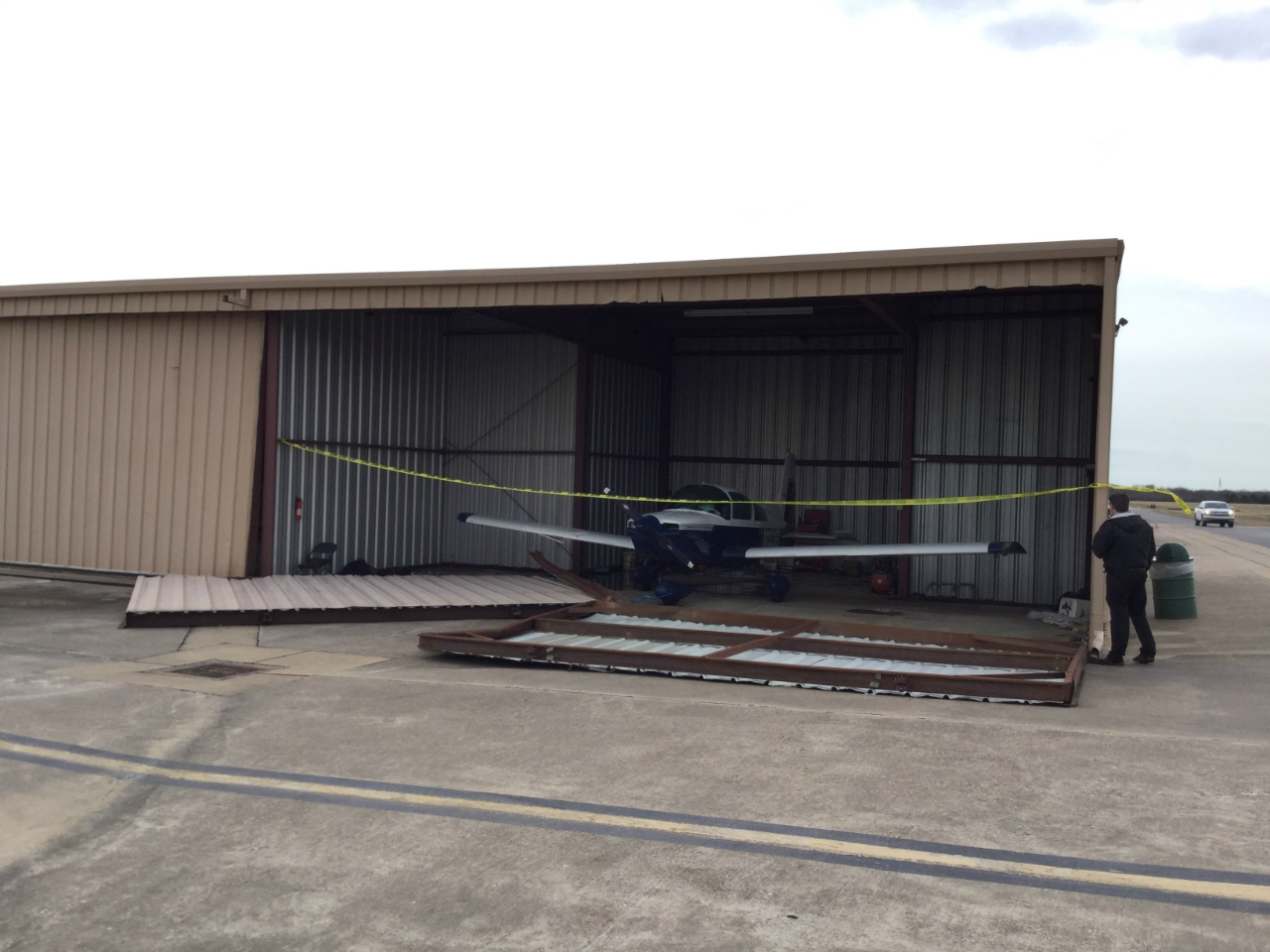 Wind damage at Grand Prairie Municipal Airport (estimated 80 mph)