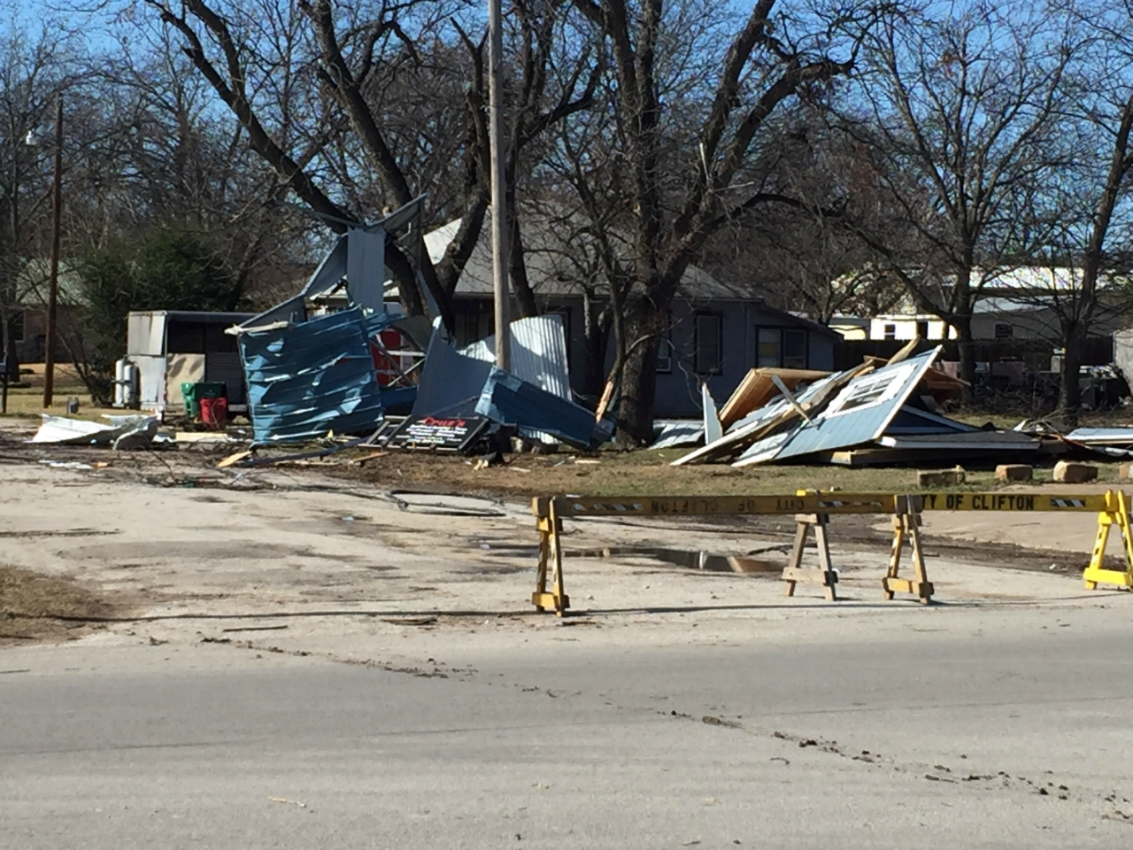 Tornado damage near Clifton, TX