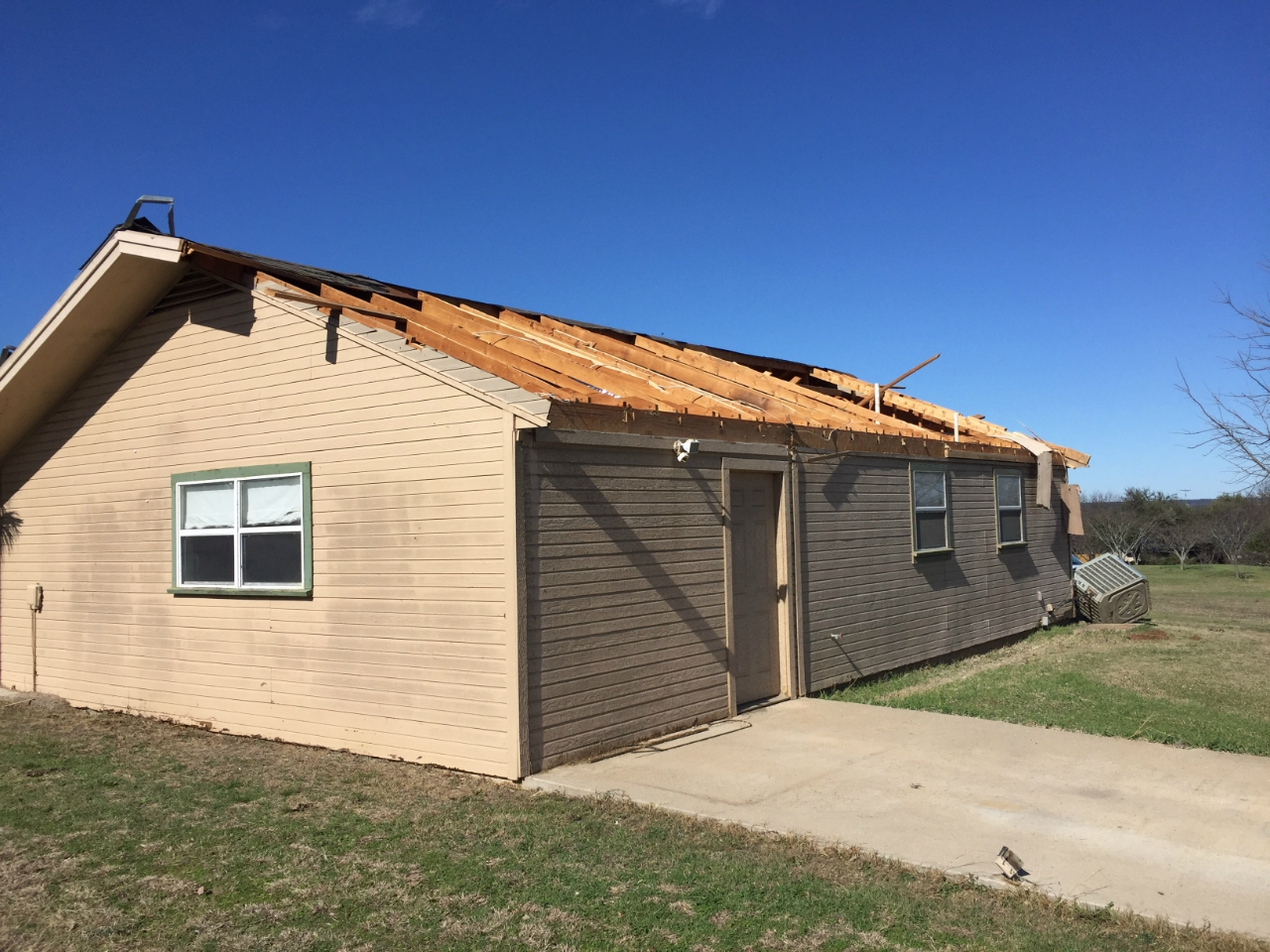 Tornado damage in Bosque County