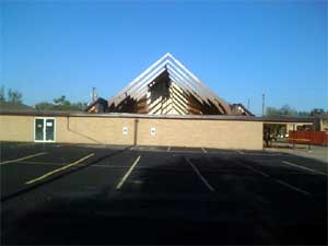 Picture of a church that as damaged in Lancaster.