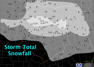 Map showing heavy snow across the northern half of North Texas on February 12th, 2010.