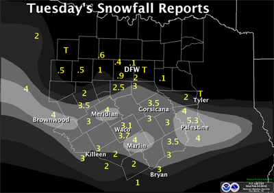 snowfall map shows 2 to 4 icnhes of snow maily south of I-20.