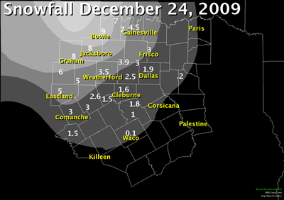 Snowfall map from December 24th, 2010.