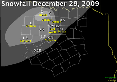 Snowfall map from December 29th, 2010. Most of the now was over the northwest part of North Texas.