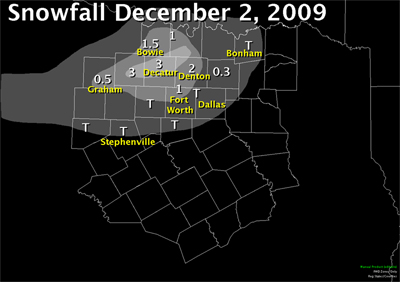 December 2nd, 2010 snowfall map. Most of the snow was along and north of I-20.