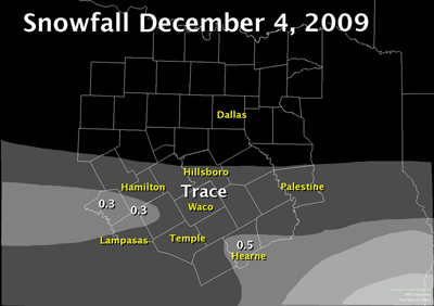 December 4th, 2010 snowfall map. Snow was maily south of I-20.