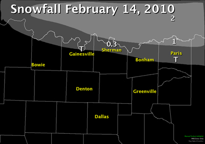 Total Snowfall Map for North Texas on February 14th, 2010. Snowfall was mainly across the Red River counties and was less than an inch in most locations.
