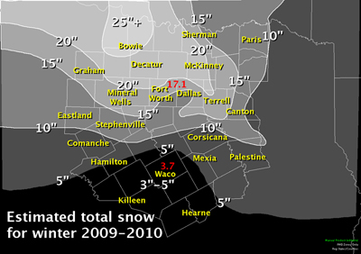 Seasonal snowfall map for North and Central Texas for 2009-2010. Map shows 25 inches near Bowie down to 3 to 5 inches around the Waco area.