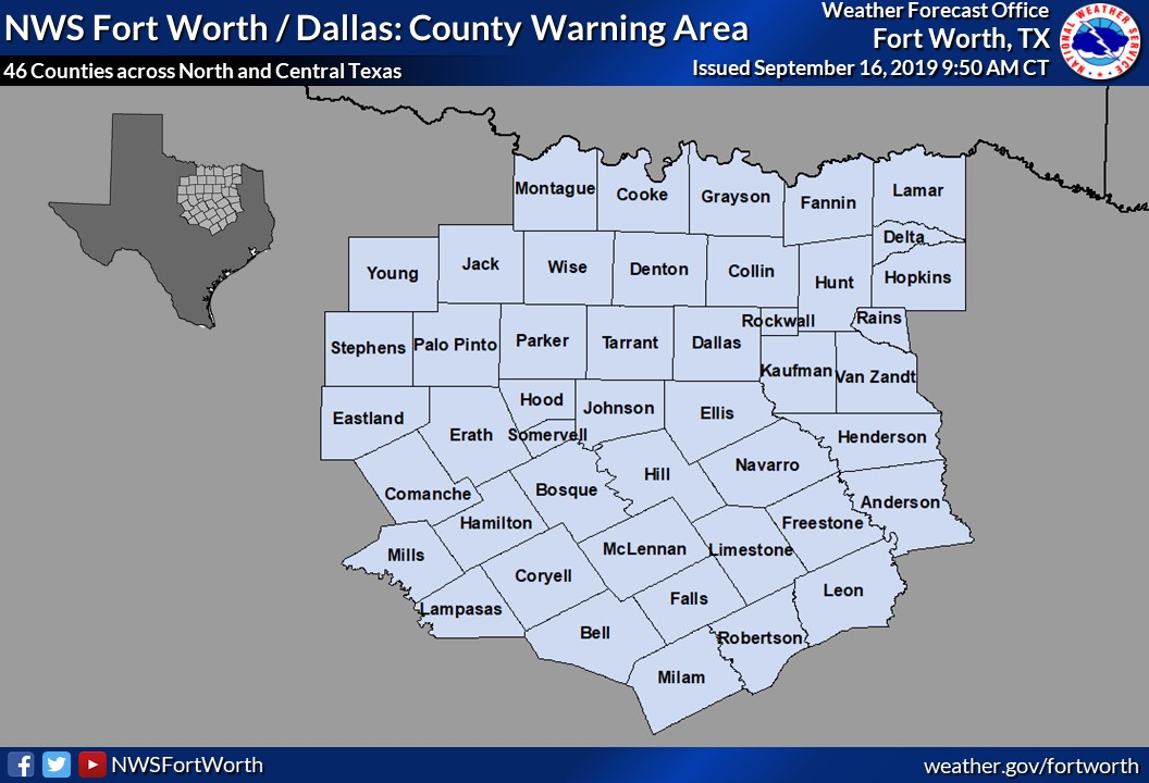 Area of responsibility of the NWS Fort Worth - Dallas
