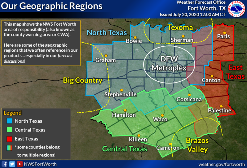 NWS Fort Worth Geopgraphic Region