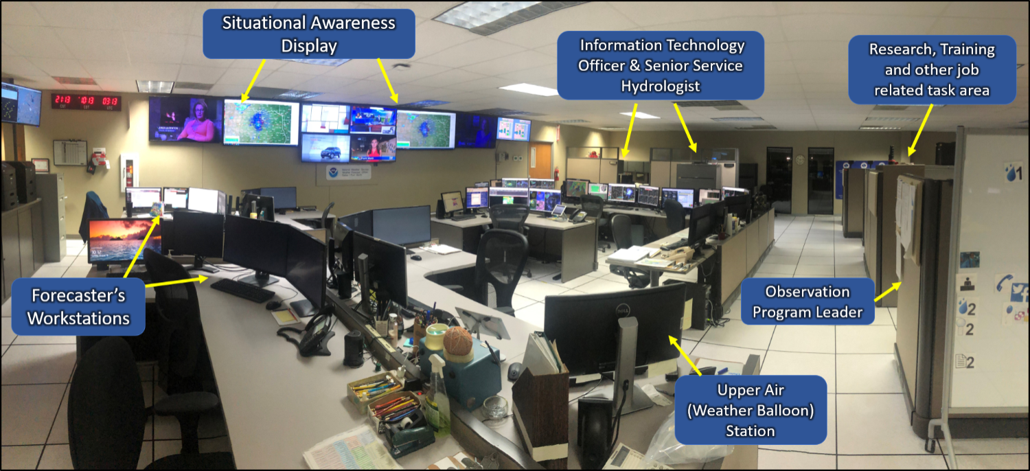 Operations area of the NWS Fort Worth