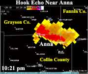Hook Echo from Ft. Worth Radar - Hook is near Anna in Collin County.