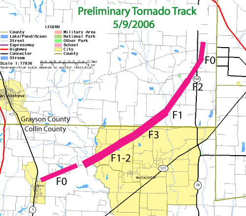 Collin and Grayson County Tornado Track Map.