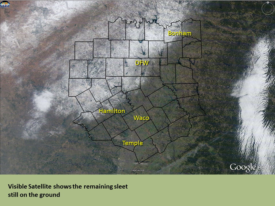 Satellite image that shows snow and ice across northwestern portions of North Texas.