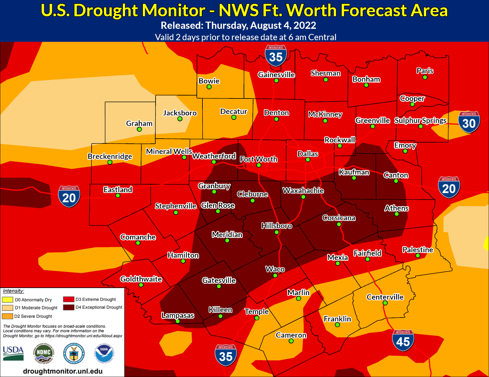 U.S. Drought Monitor - North and Central Texas