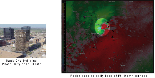 radar reflectivity image showing the ft. worth tornado of March 28th, 2000