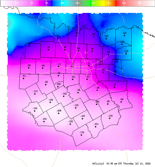 Automatically generated image showing areas of 0-3 km storm relative helicity.