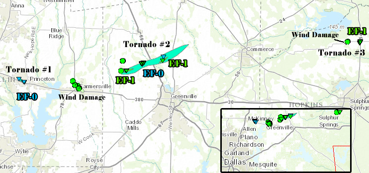 Map showing location of three tornadoes that moved across N. Texas on April 3rd