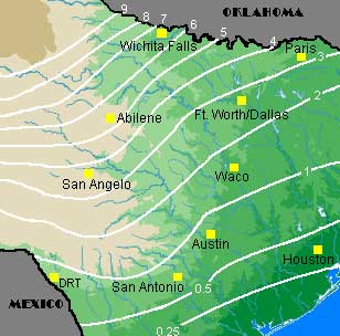 Average Snowfall Map for much of Texas. Average snowfall on the map ranges from less than a quarter of an inch across the upper Texas coast to over nine inches close to the lower Texas Panhandle.