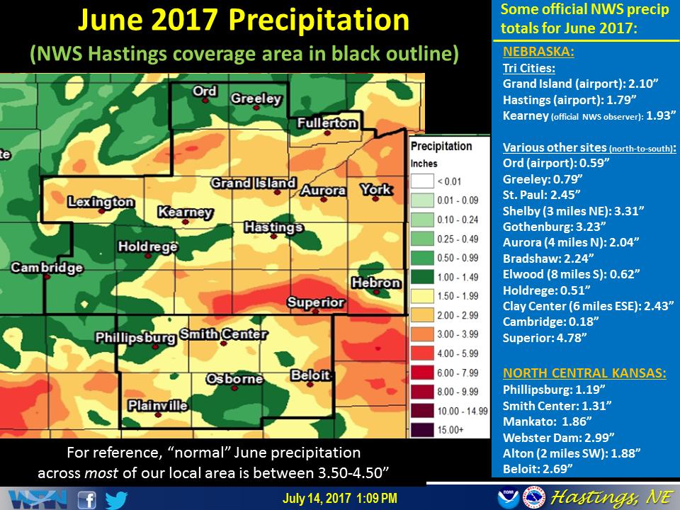 Alton Kansas Map.June 2017 Precipitation Temperature Summary For Our 30 County