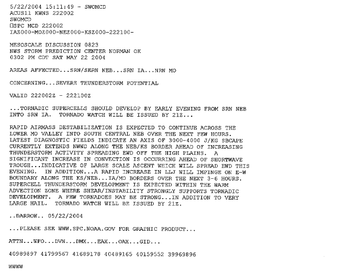 SPC Mesoscale Discussion issued at 302 PM CDT May 22nd, 2004.
