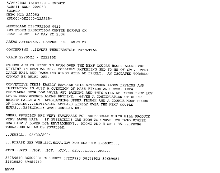 spc mesoscale discussion issued at 352 pm cdt may 22nd 2004. Resume Example. Resume CV Cover Letter