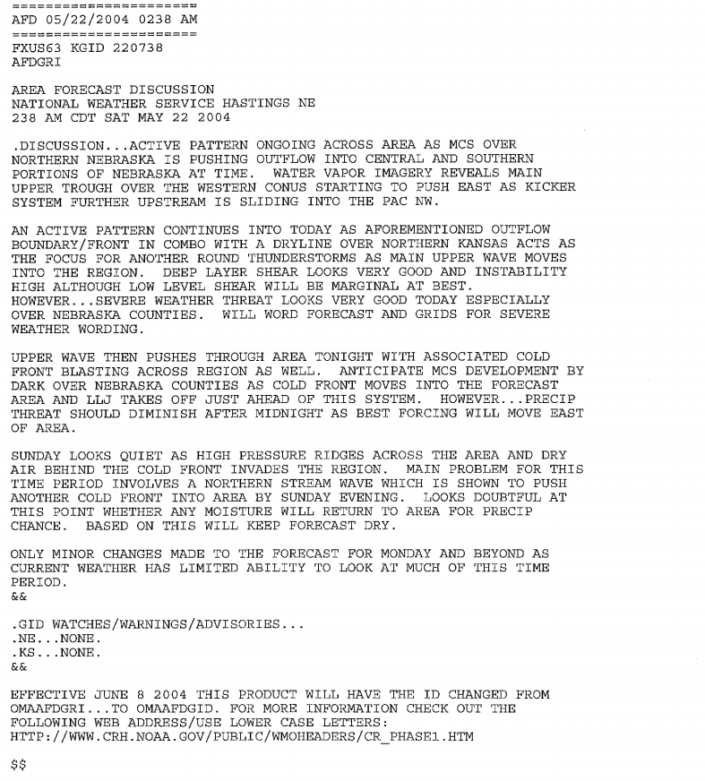 Forecast Discusiion for May 22nd, 2004.
