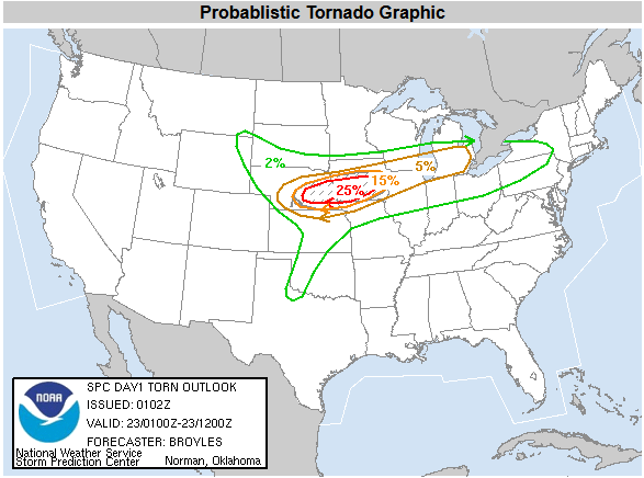 SPC Probablistic Tornado Graphic for the evening and overnight hours of May 22nd, 2004.