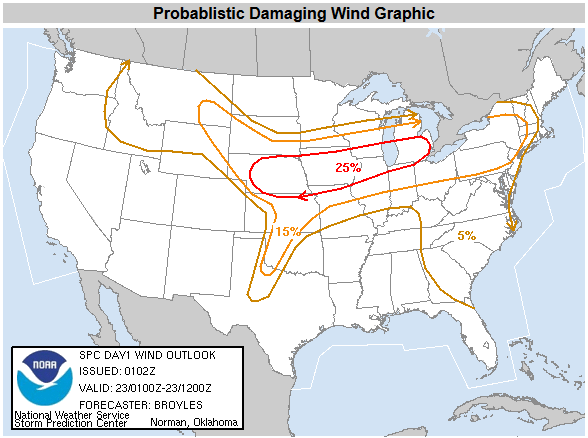 SPC Probablistic Damaging Wind Graphic for the evening and overnight hours of May 22nd, 2004.