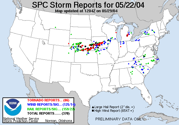 Severe Weather Reports from SPC for May 22nd, 2014.