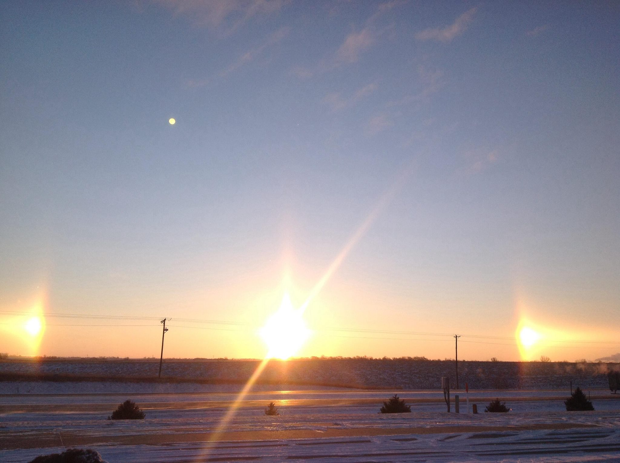 Sundogs were visible the day after the snow on Februrary 5, 2014.