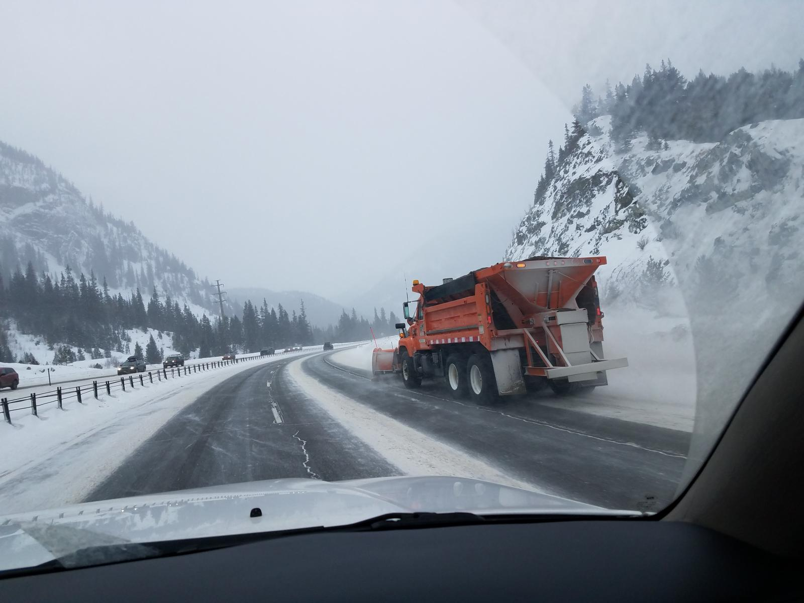 Snowplows working hard on Christmas Day 2016