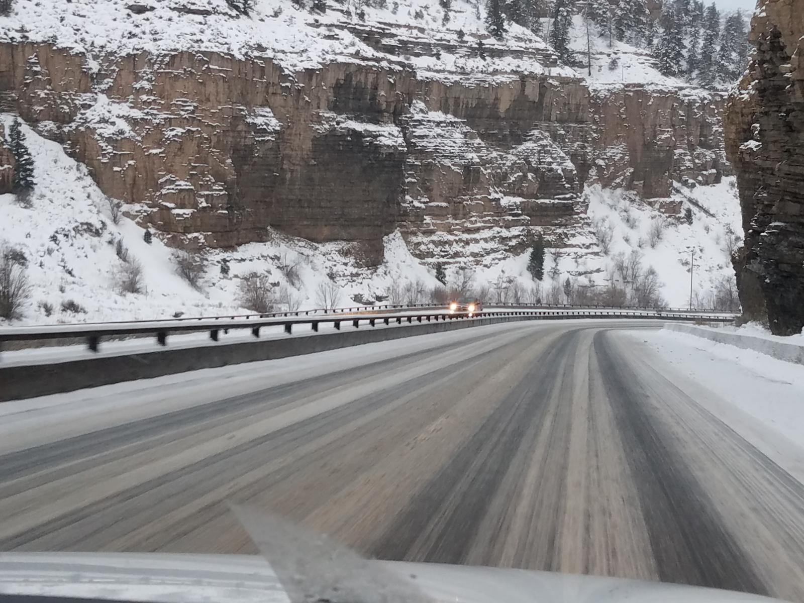 Icy roads in Glenwood Canyon