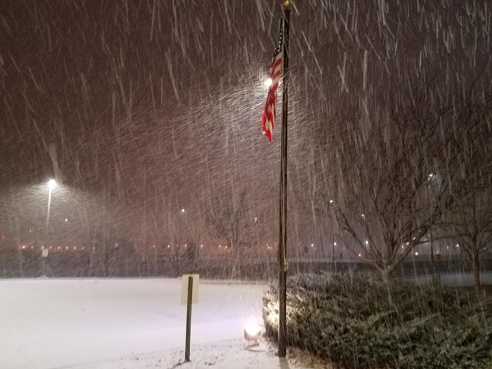 Snow falling at the Weather Forecast Office in Grand Junction