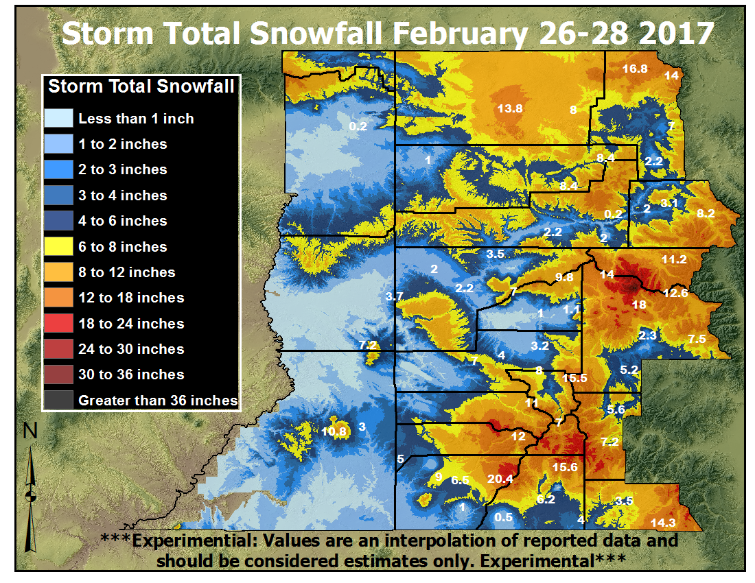 Total snowfall map from the February 26 to 28, 2017 Winter Storm