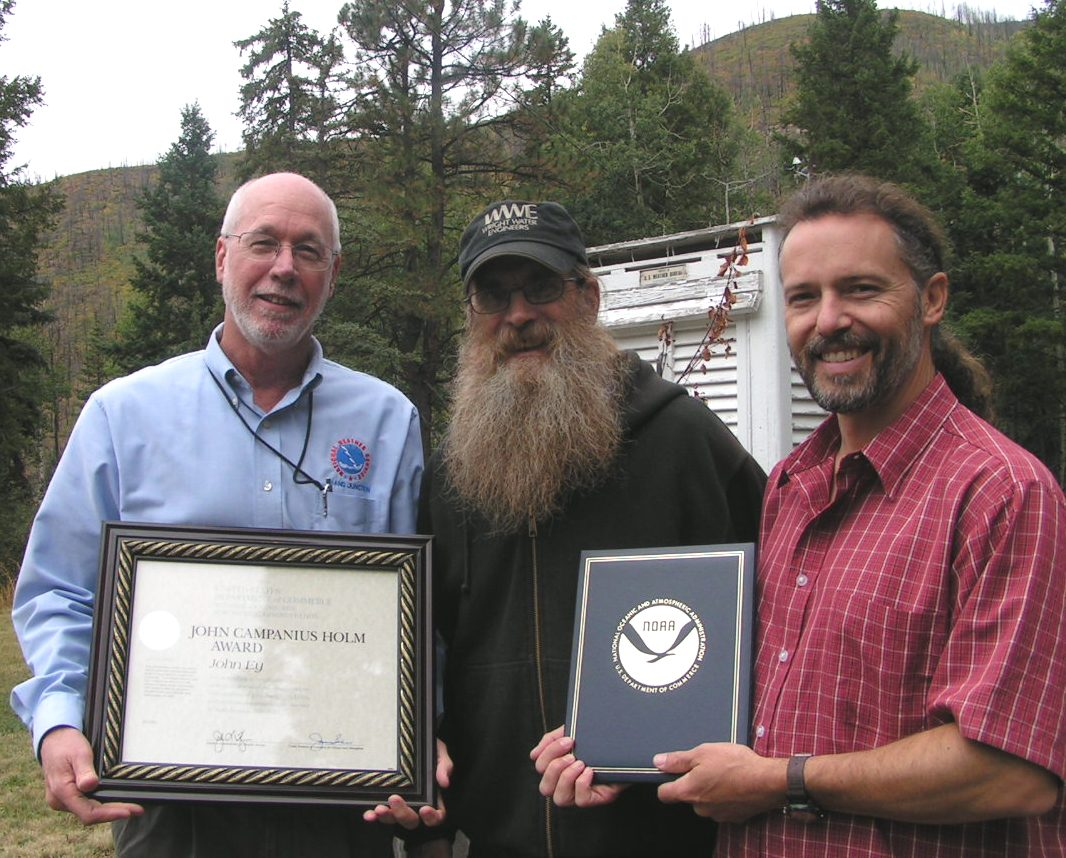 John Ey  observer at Lemon Dam, CO, presented with the John Campanius Holm Award.