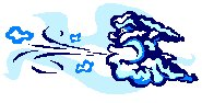 Cartoon image of a winter wind being blown up by a cloud