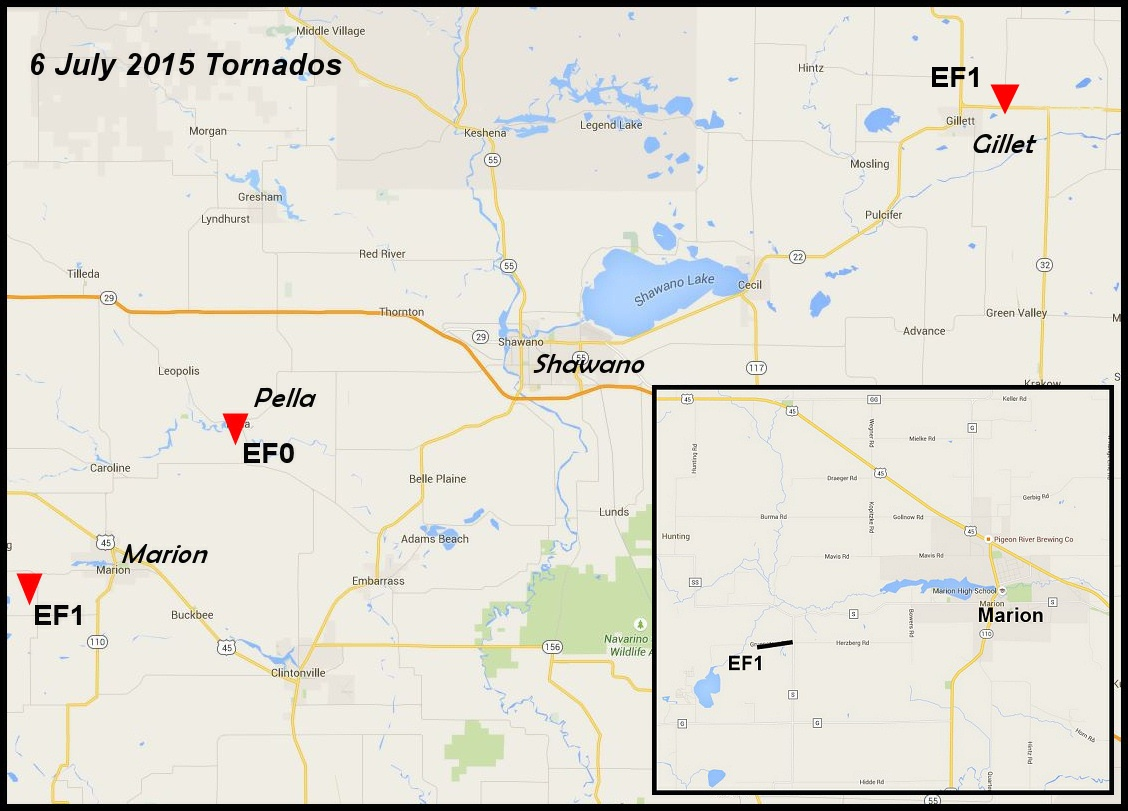 Marion Wisconsin Map.July 6 2015 Tornadoes