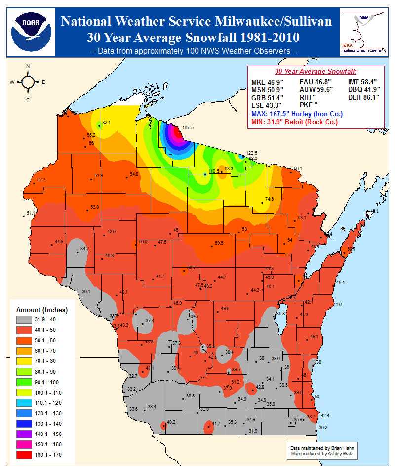 Normal Seasonal Snowfall Totals For Northeast Wisconsin - Average snowfall map us
