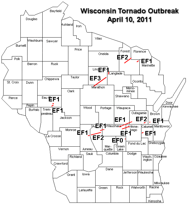 Wisconsin tornado tracks - Click for larger image.
