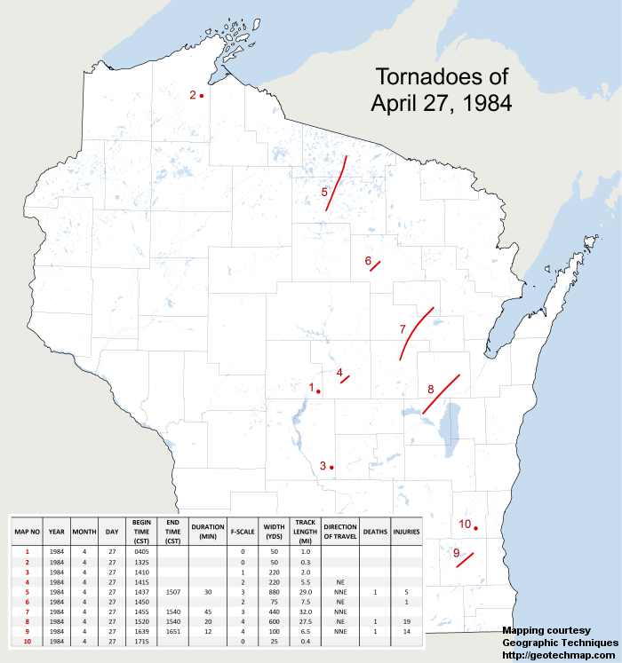 Map of Wisconsin tornadoes on April 27, 1984 - Click for large image